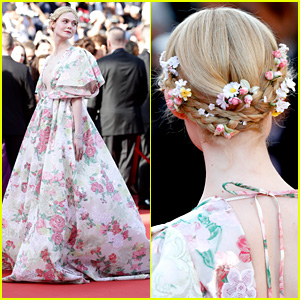 Elle Fanning Wears Tiny Roses In Her Hair for 'Les Miserables' Premiere at Cannes Film Festival 2019