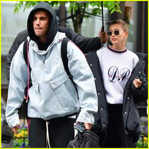 Justin & Hailey Bieber Brave The Rain in NYC