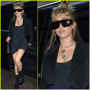 Miley Cyrus Arrives Back at Her Hotel After Dinner in London