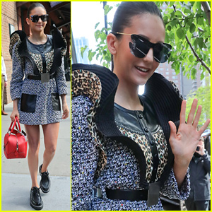 Nina Dobrev Dons Wavy Dress & Sunglasses for Stylish Day Out