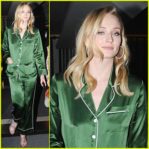 Sophie Turner Goes Out For Girl's Day In Silk Pajamas