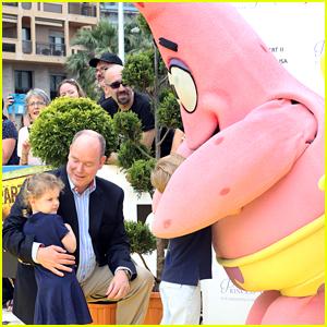 Princess Gabriella of Monaco Gets Shy While Meeting Spongebob & Patrick at Monte Carlo TV Festival