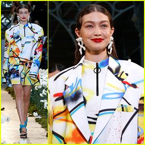 Gigi Hadid Walks Through Fields of Flowers at Off White Fashion Show in Paris