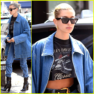Hailey Bieber Wears Denim On Denim For Weekend Outing