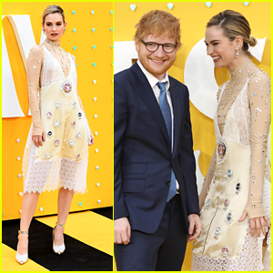 Lily James Gets A Little Giddy Around Ed Sheeran at 'Yesterday' Premiere in London