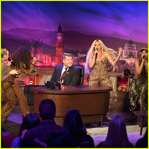 Little Mix Invade James Corden's Desk While Performing on 'Late Late Show'