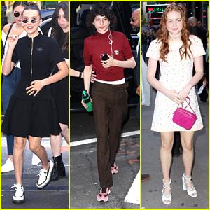 Millie Bobby Brown, Sadie Sink & 'Stranger Things' Stars Arrive For Interviews in NYC