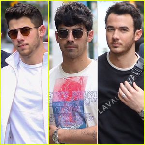 Nick, Joe, & Kevin Jonas Head to the Airport After Busy Day in NYC