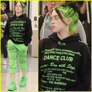Billie Eilish Matches Neon Green Hair with Her Outfit!
