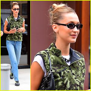 Bella Hadid Rocks Cool Camo Vest After Attending VMAs in NYC