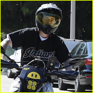 Justin Bieber Goes for a Ride on His 'Drew' Motorcycle