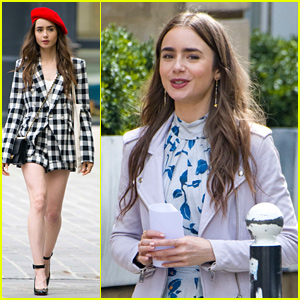 Lily Collins Wears a Red Beret For 'Emily in Paris' Filming