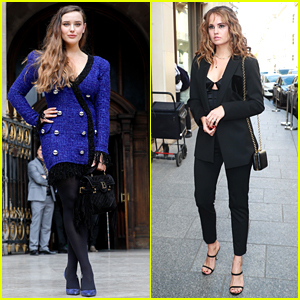 Katherine Langford Steps Out In Style For Balmain Fashion Show with Debby Ryan in Paris