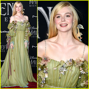 Elle Fanning Glows in Green Floral Dress at 'Maleficent 2' Premiere