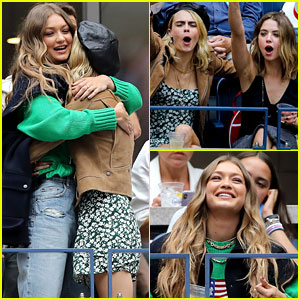 Cara Delevingne & Ashley Benson Meet Up with Gigi Hadid at U.S. Open!