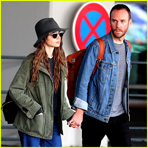 Lily Collins Holds Hands with Her New Boyfriend at Paris Airport