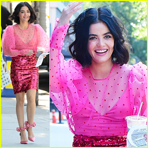 Lucy Hale Is Tickled Pink While Filming 'Katy Keene'