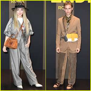 Sabrina Carpenter & Tommy Dorfman Suit Up For Fendi Milan Fashion Show