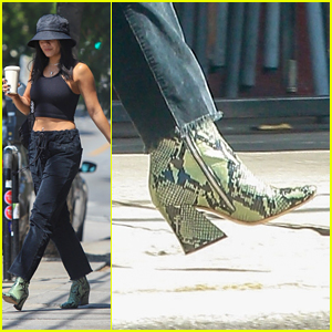 Vanessa Hudgens Rocks Green Snakeskin Boots While Out in LA
