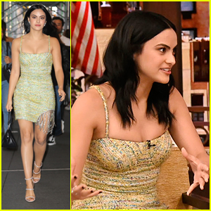 Camila Mendes Braves Cooler Temps In Yellow Dress In NYC