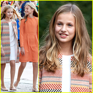 Princess Leonor & Princess Sofia of Spain Coordinate Their Outfits For Oviedo Arrival