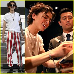 Timothee Chalamet Wears Striped Pants To 'The King' Premiere in Korea