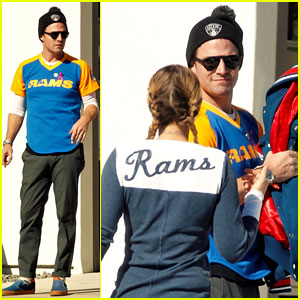 Stephen Amell & Wife Cassandra Jean Support the L.A. Rams!