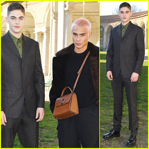 Hero Fiennes-Tiffin Meets Up With Evan Mock at Salvatore Ferragamo Fashion Show