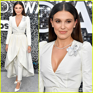 Millie Bobby Brown Glows in All-White Outfit at SAG Awards 2020