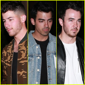 Nick Jonas Grabs Dinner with Brothers Joe & Kevin in Beverly Hills