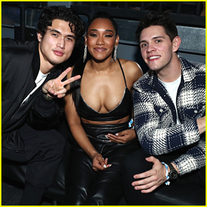 Charles Melton & Casey Cott Met Up With Another CW Star at a Super Bowl Party