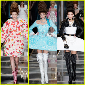 Gigi Hadid, Kaia Gerber, & Bella Hadid Wear Sky-High Wigs for Moschino Fashion Show!