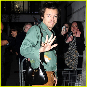 Harry Styles Sports Red Manicure & Gucci Purse for Radio Appearance