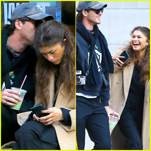 Zendaya Gets a Kiss on the Head from Jacob Elordi in NYC!