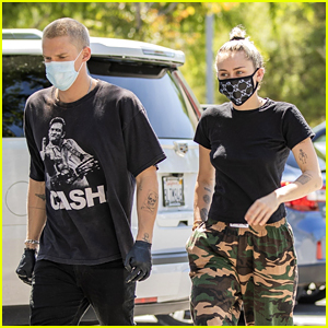 Miley Cyrus Wears a Gucci Face Mask for an Outing with Cody Simpson