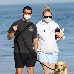 Joe Jonas & Sophie Turner Take a Sunny Stroll Together at the Beach