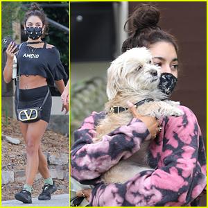Vanessa Hudgens Cuddles Dog Darla Close After A Fitness Class