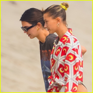 Kendall Jenner & Hailey Bieber Hang Out at the Beach in Malibu