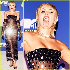 Miley Cyrus Goes Sheer On MTV VMAs 2020 Carpet