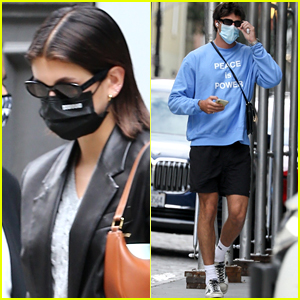 Kaia Gerber & BF Jacob Elordi Head Out of Her Apartment in New York