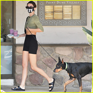 Kendall Jenner Brings Dog Pyro On a Juice Run With Her