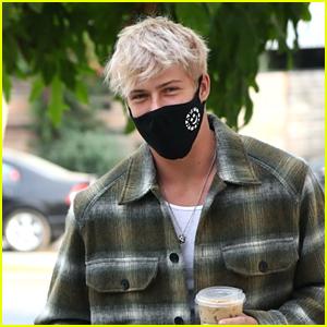 Blake Gray Shows Off New Blonde Hair On Starbucks Run