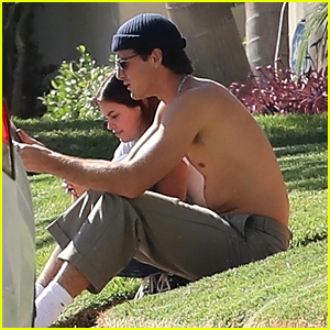 Kaia Gerber & Boyfriend Jacob Elordi Lounge on the Grass Together in Hollywood