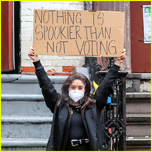Vanessa Hudgens Sends Her Voting Message with Help from Dude with Sign!