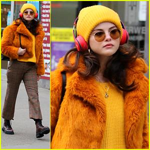 Selena Gomez Bundles Up In Orange To Start Filming On Her New Hulu Show!