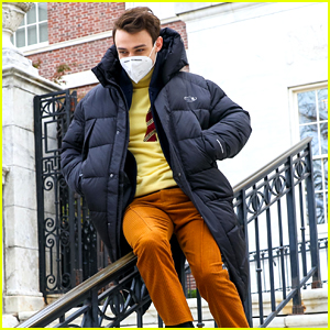 Thomas Doherty Zips Down a Railing On 'Gossip Girl' Set After Cast Thanksgiving Trip