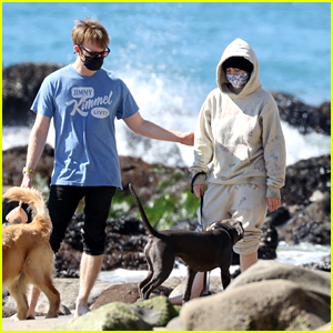 Billie Eilish Hits The Beach With Her Dogs & Brother Finneas in LA