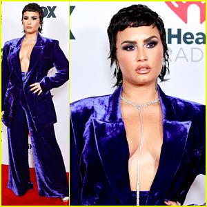 Demi Lovato Rocks Velvet Suit at iHeartRadio Music Awards 2021