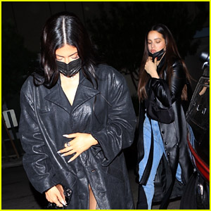 Kylie Jenner & Rosalia Match in Black Trenchcoats at Dinner!
