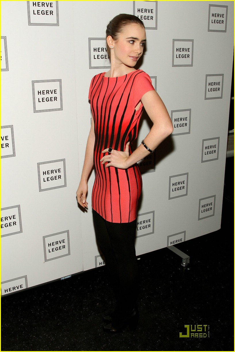 lily collins herve leger dress 01